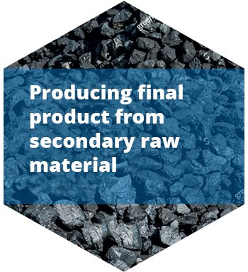 Producing final product from secondary raw material
